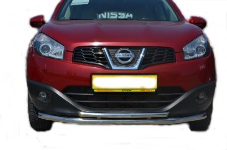 Защита переднего бампера Nissan Qashqai 2008 двойная (радиус) d60/42